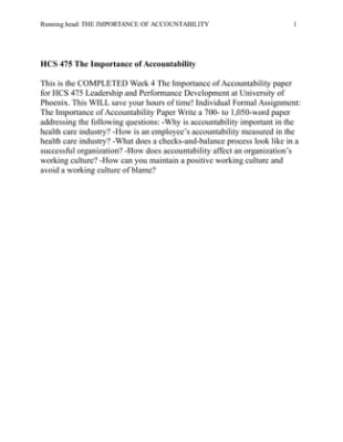 hcs 475 week 4 accountability paper Snaptutorial is a online tutorial store we provides hcs 475 week 4 individual assignment the importance of accountability paper.