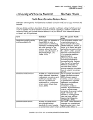 hcs 483 health care information systems Study flashcards on hcs 483 week 1 health care information systems definitions at cramcom quickly memorize the terms, phrases and much more cramcom makes it easy.