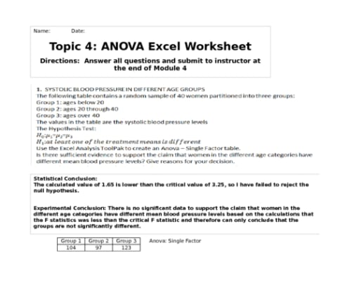 hlt 362 week 4 anova excel worksheet Hlt 362 module 3 hypothesis excel worksheetxls hlt 362 week 4 dqs if the result of an anova experiment was not significant, was the experiment a failure provide reasoning and examples (real or hypothetical) to support your argument.