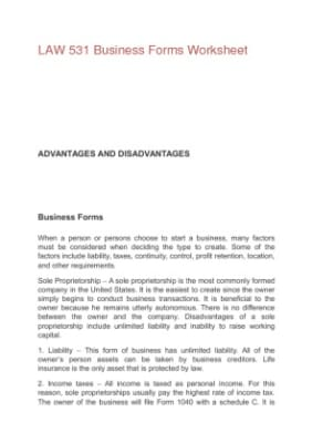 law 531 business forms worksheet. Black Bedroom Furniture Sets. Home Design Ideas