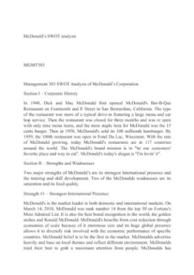 business analysis part i mcdonalds This strategy allowed palm to stay in business and stay undetected as a threat to  their  financial analysis of the mcdonald's corporation part 1, company.