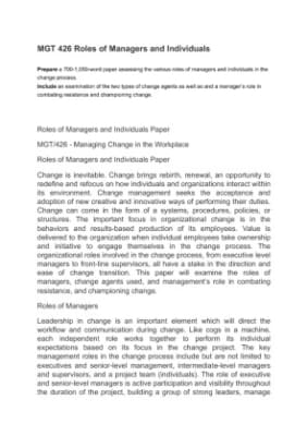 The roles of managers and individuals essay