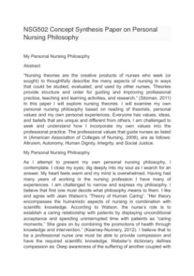 personal nursing philosophy paper examples