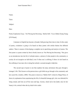 Poem Explication Essay - Gse.Bookbinder.Co