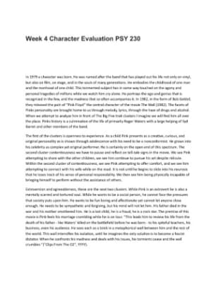 Psy 230 week 4 assignment charachter