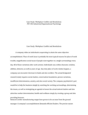 case study workplace conflict and resolutions Conflict resolution education: a case study analysis community, and in institutions such as schools and the workplace if school is a conflict resolution training, not only would academic achievement increase but students.