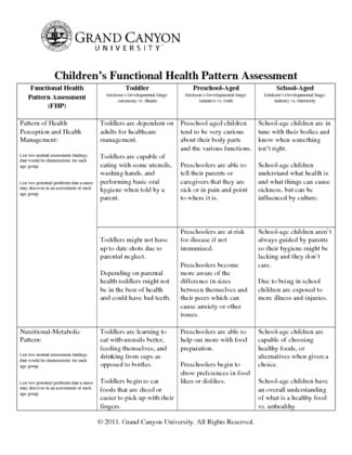 Childrens Functional Health Pattern Assessment Impressive Children's Functional Health Pattern Assessment