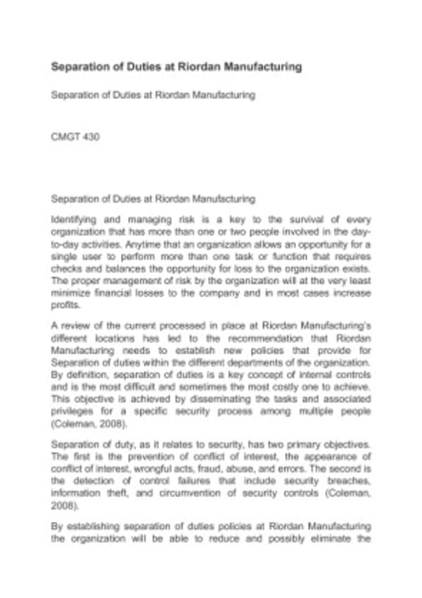 cmgt 430 week 5 riordan manufacturing Mgt 498 week 5 learning team strategic plan paper instructions resources: virtual organization, riordan manufacturing, available through the virtual organizations portal in the ecampus library (select riordan manufacturing from the business drop-down menu) the course textbook, concepts in strategic management and business policy: achieving.