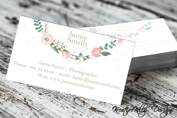 Printable Floral Wreath Business Card Customizable