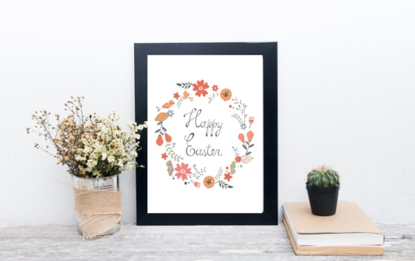 Happy Easter Floral Printable Wreath
