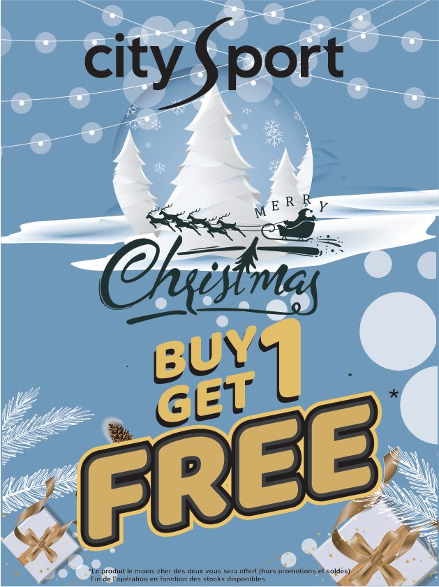 Black Friday Mauritius Buy 1 item at  Citysport  and get the second one for FREE