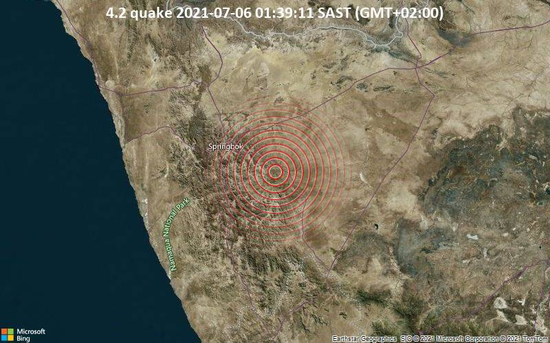 Moderate magnitude 4.2 quake hits 42 km southeast of Springbok, South Africa early morning