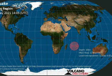 Major magnitude 6.6 earthquake – Mauritius/Reunion Region on Wednesday, 12 May 2021 at 14:05 (GMT)