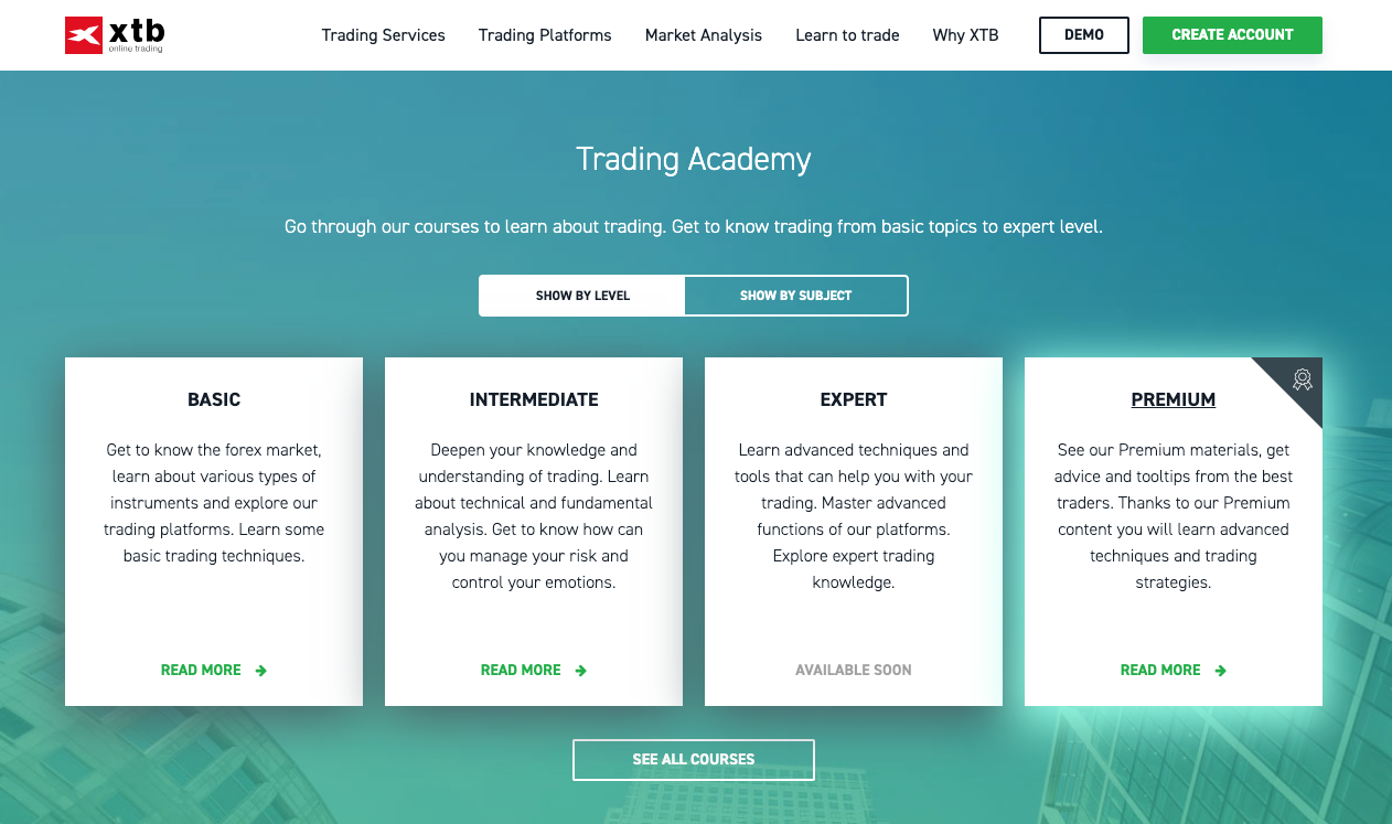 XTB learn to trade CFDs