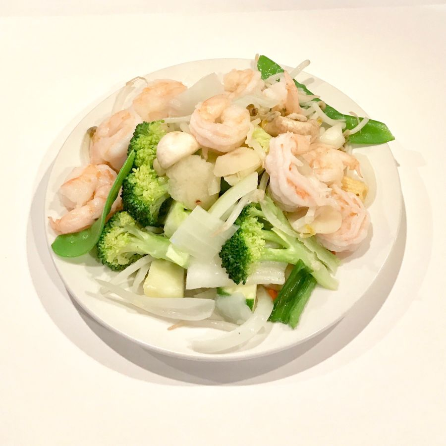 Steamed Mix Greens With Shrimp