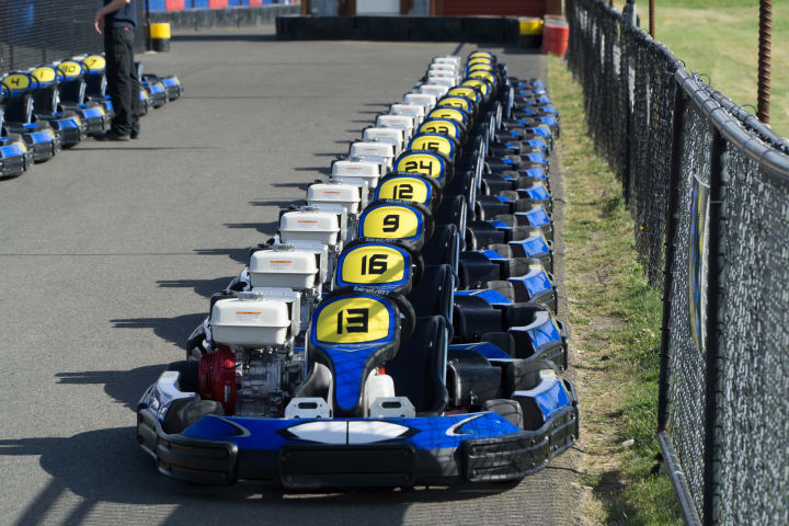 Line of PGP racing karts