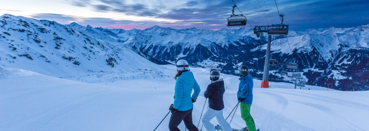 Early bird skiing at Klosters Madrisa