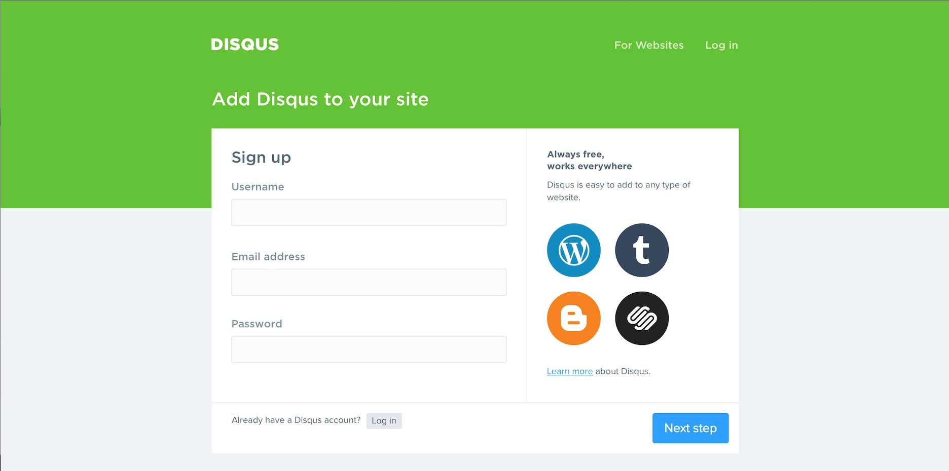 Disqus.com Sign-Up Form