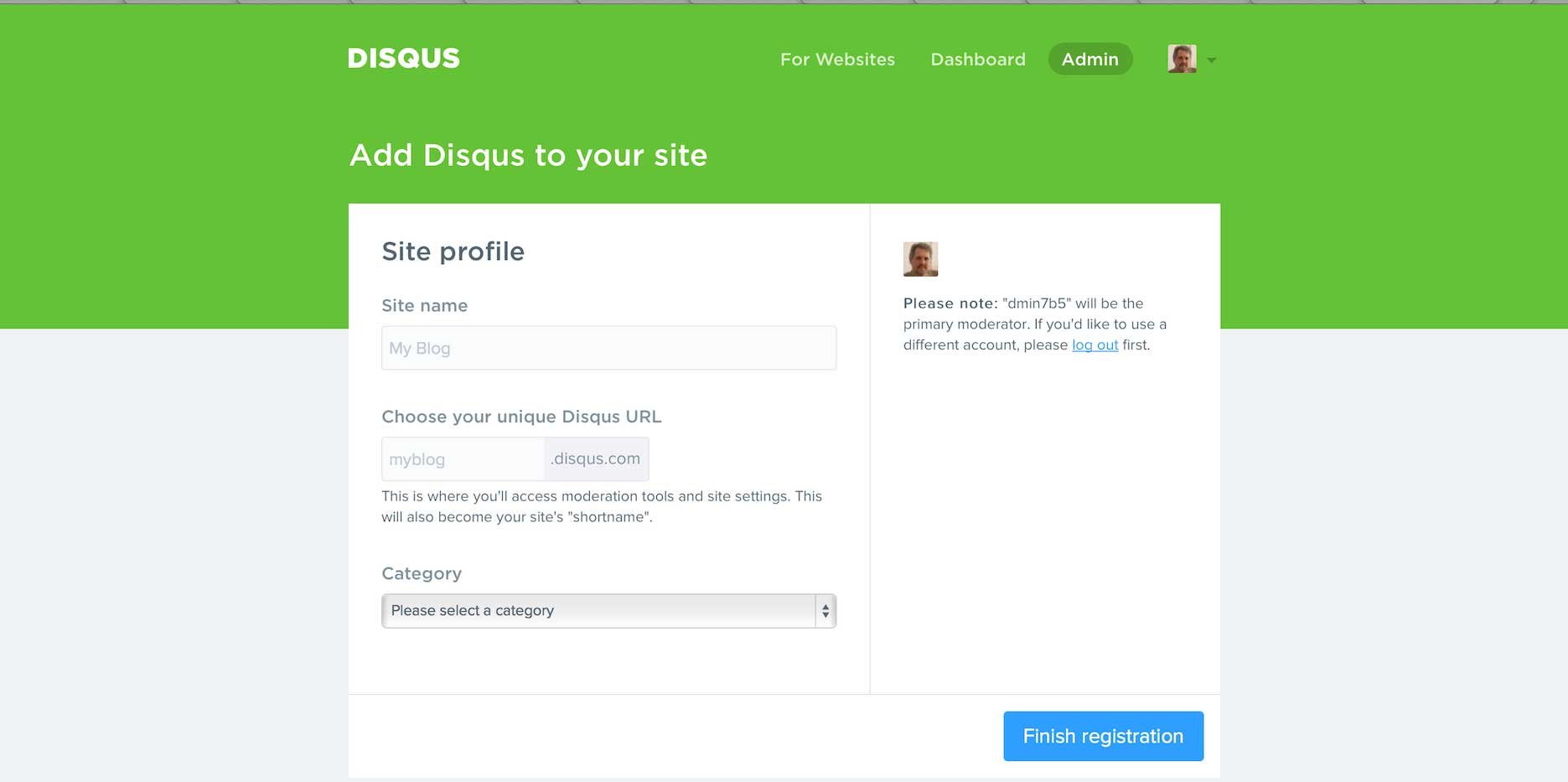 Create your Disqus Comment URL