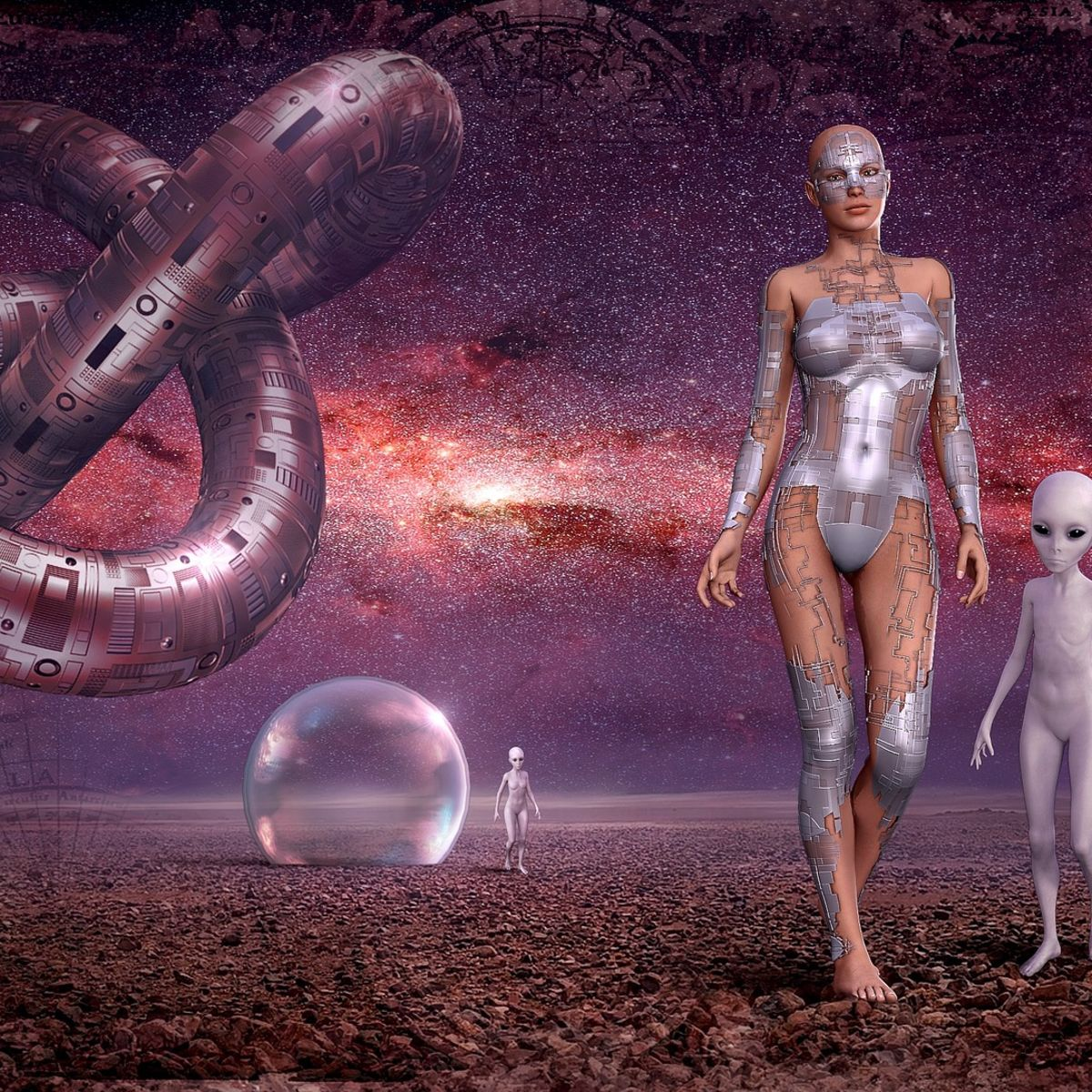 Woman cyborg, android, alien, starry sky, universe, fantassy