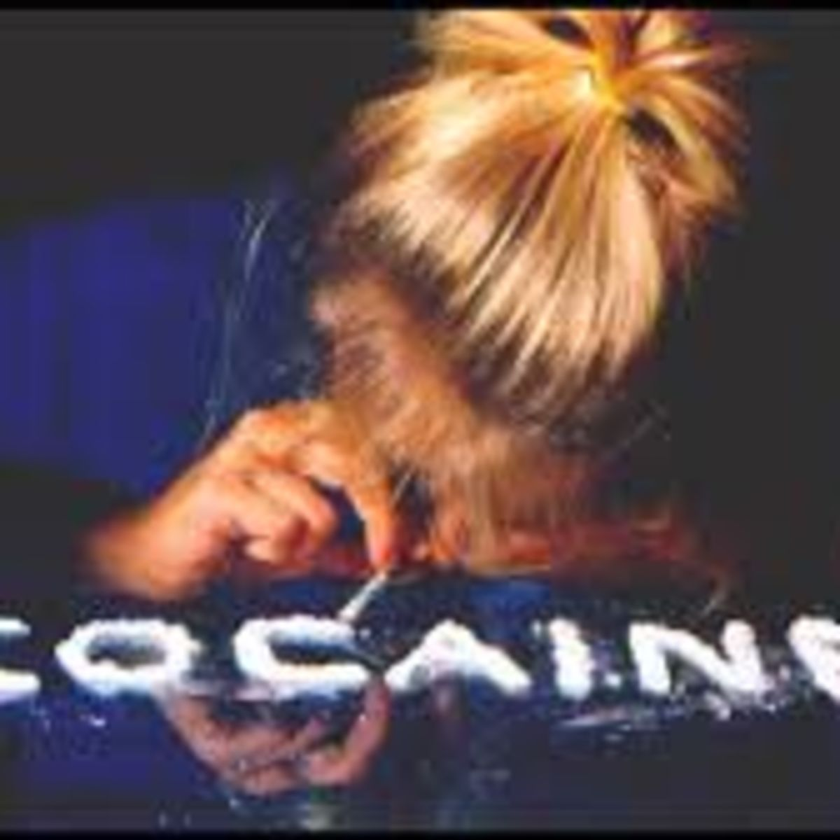 Blonde girl snorting cocaine, white powder, letters
