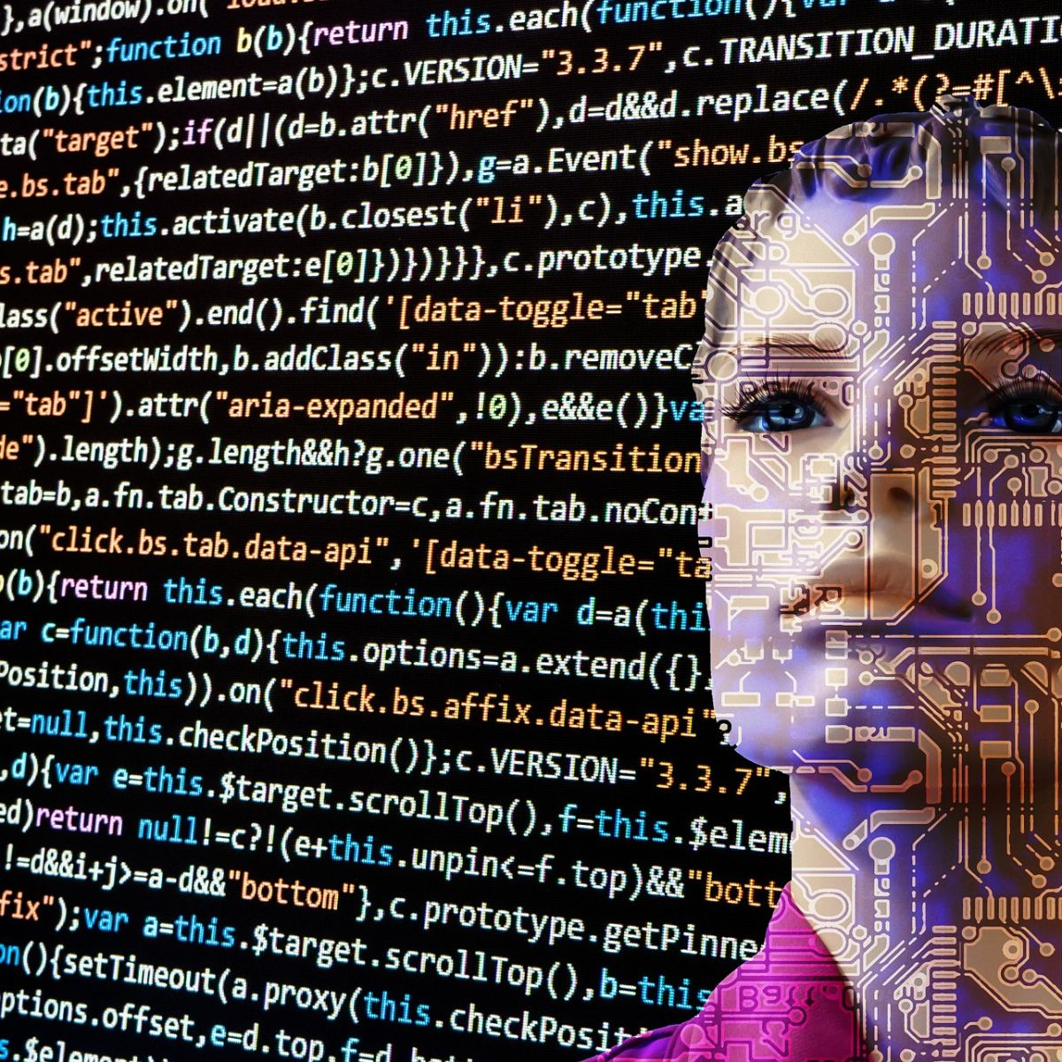 Woman cyborg, ki, ai, artificial intelligence, programming, code, matrix