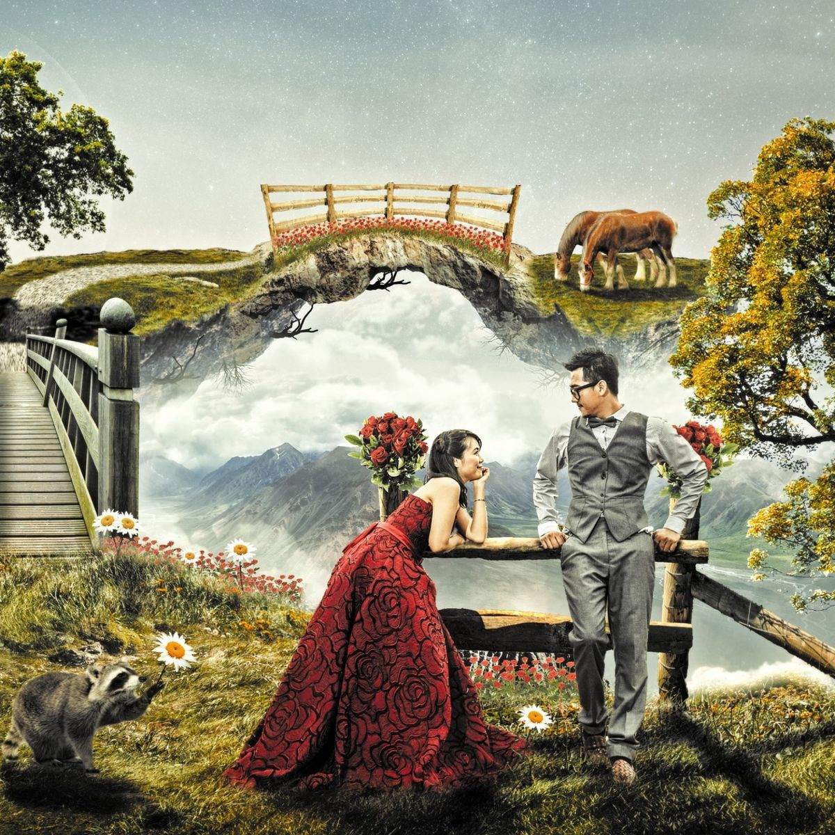 Couple in a fantasy dreamy magical landscape with trees and moon