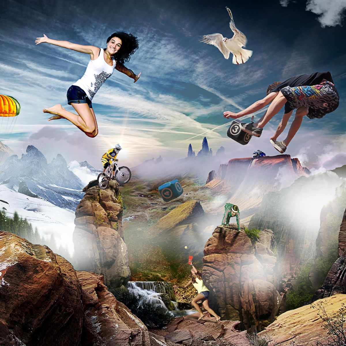Extreme sports, flying, air, bike, bicycle, woman, fantasy