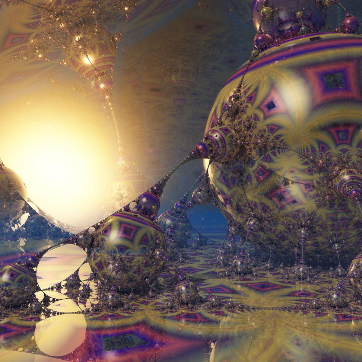 'Pseudo Kleinian' 3d fractal psychedelic art by Krzysztof Marczak