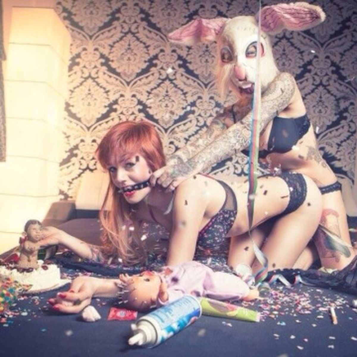 Sexy girls in bunny costume pillow fight