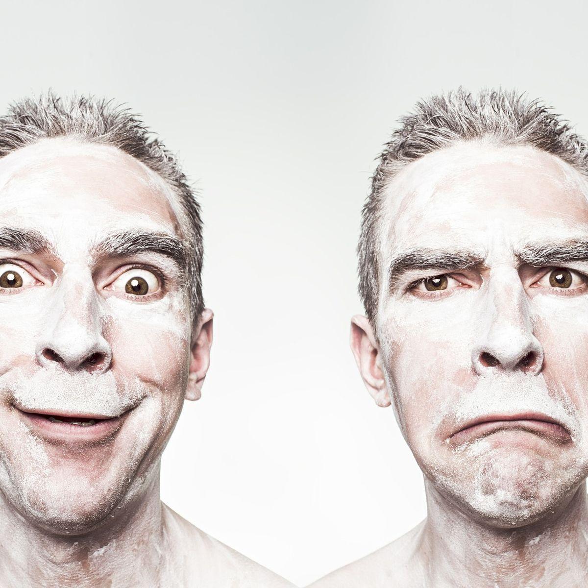 Happy vs. Sad: Emotions on a man's face.