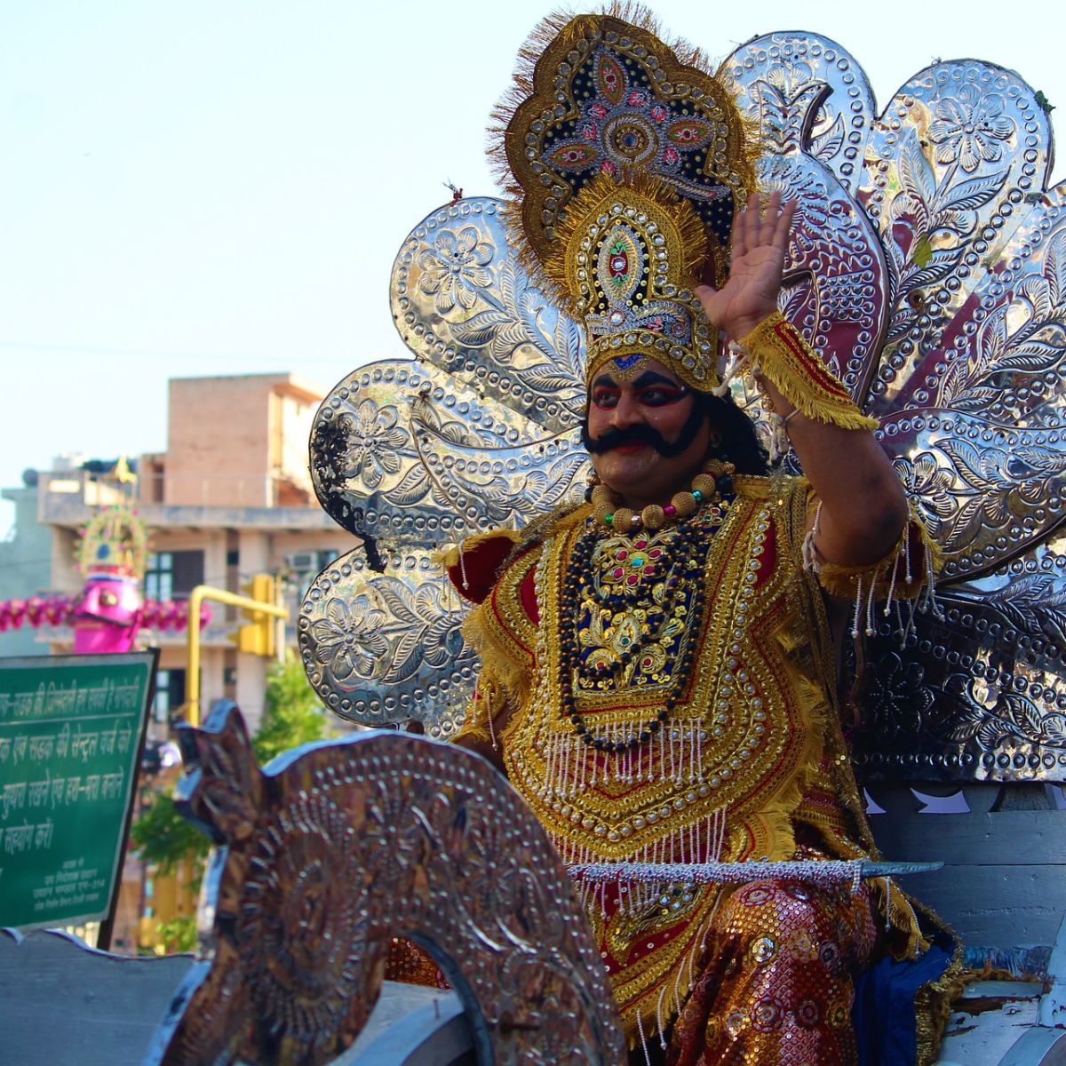 Indian man decorated at festival