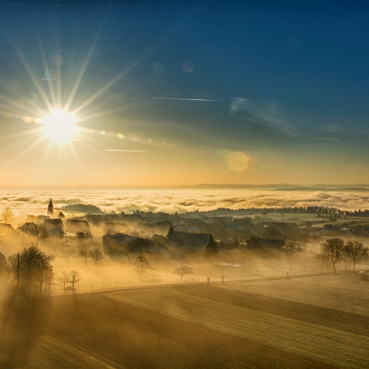 Sun rays on foggy landscape