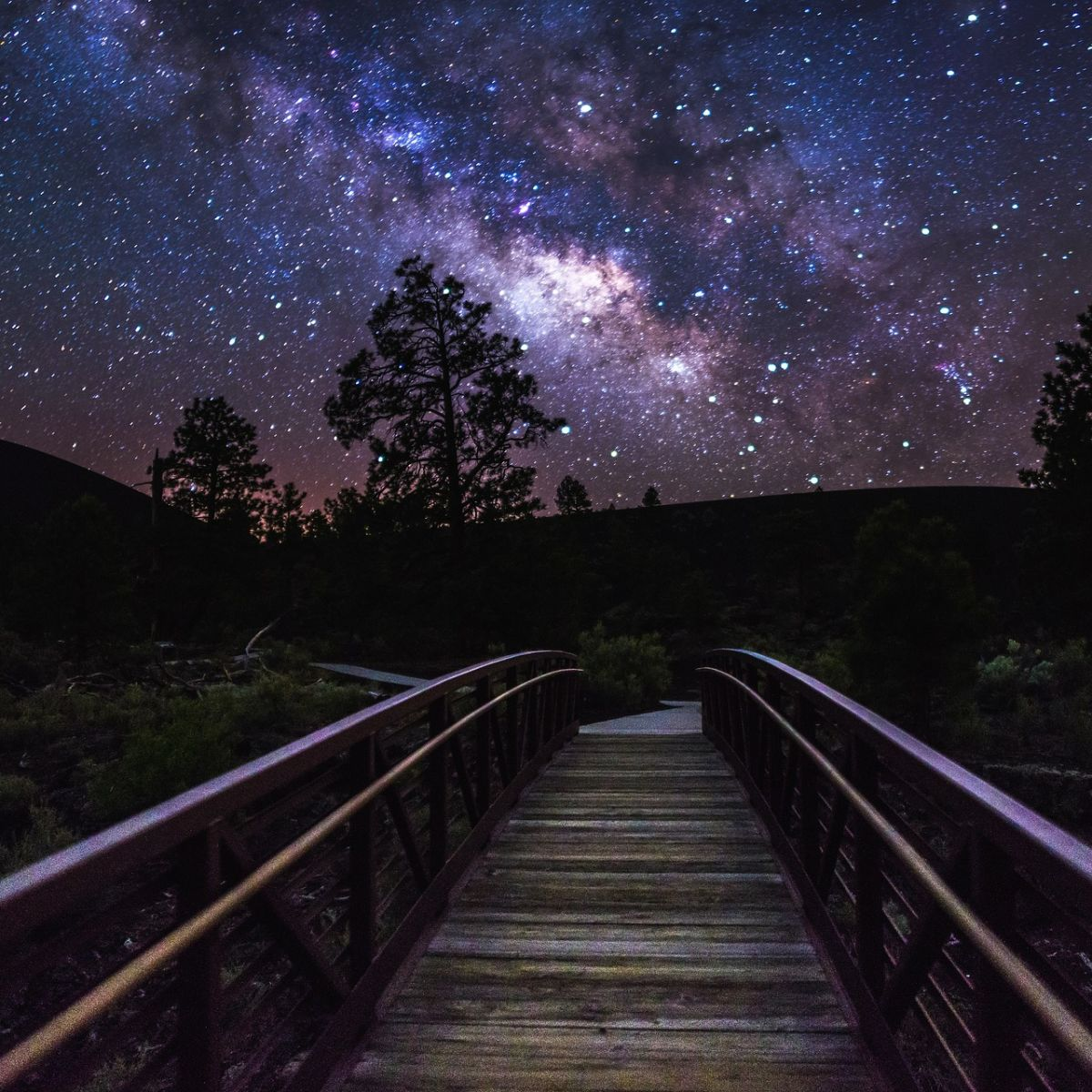 Night landscape, galaxy, milky way, stars, bridge, way, scenic