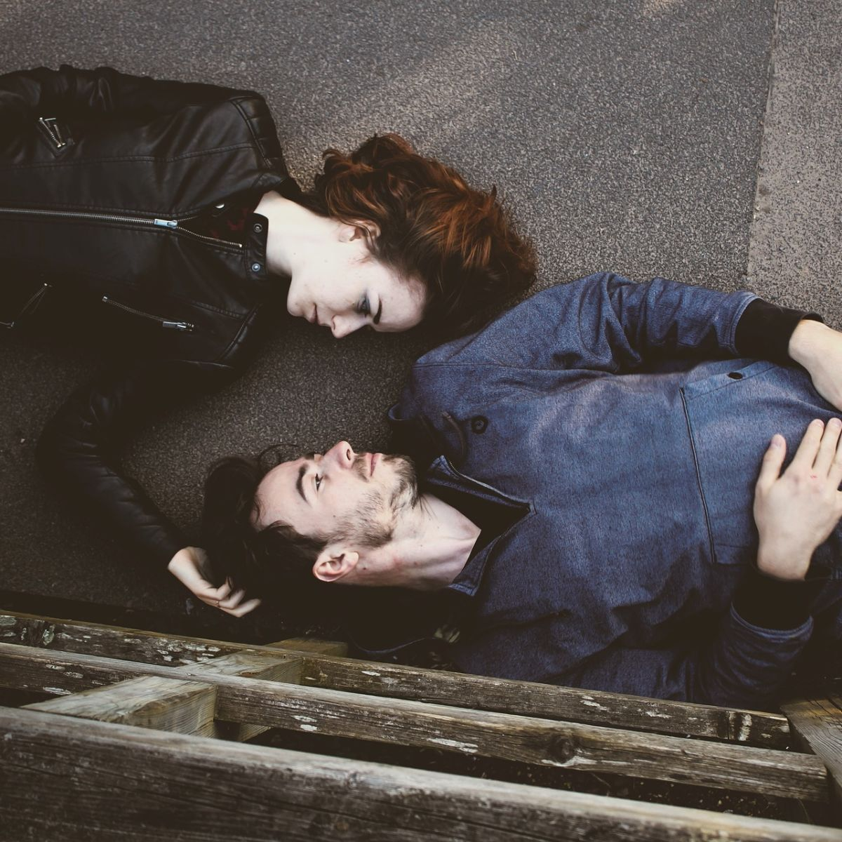 Lovers, lying on floor, man, woman, fashion