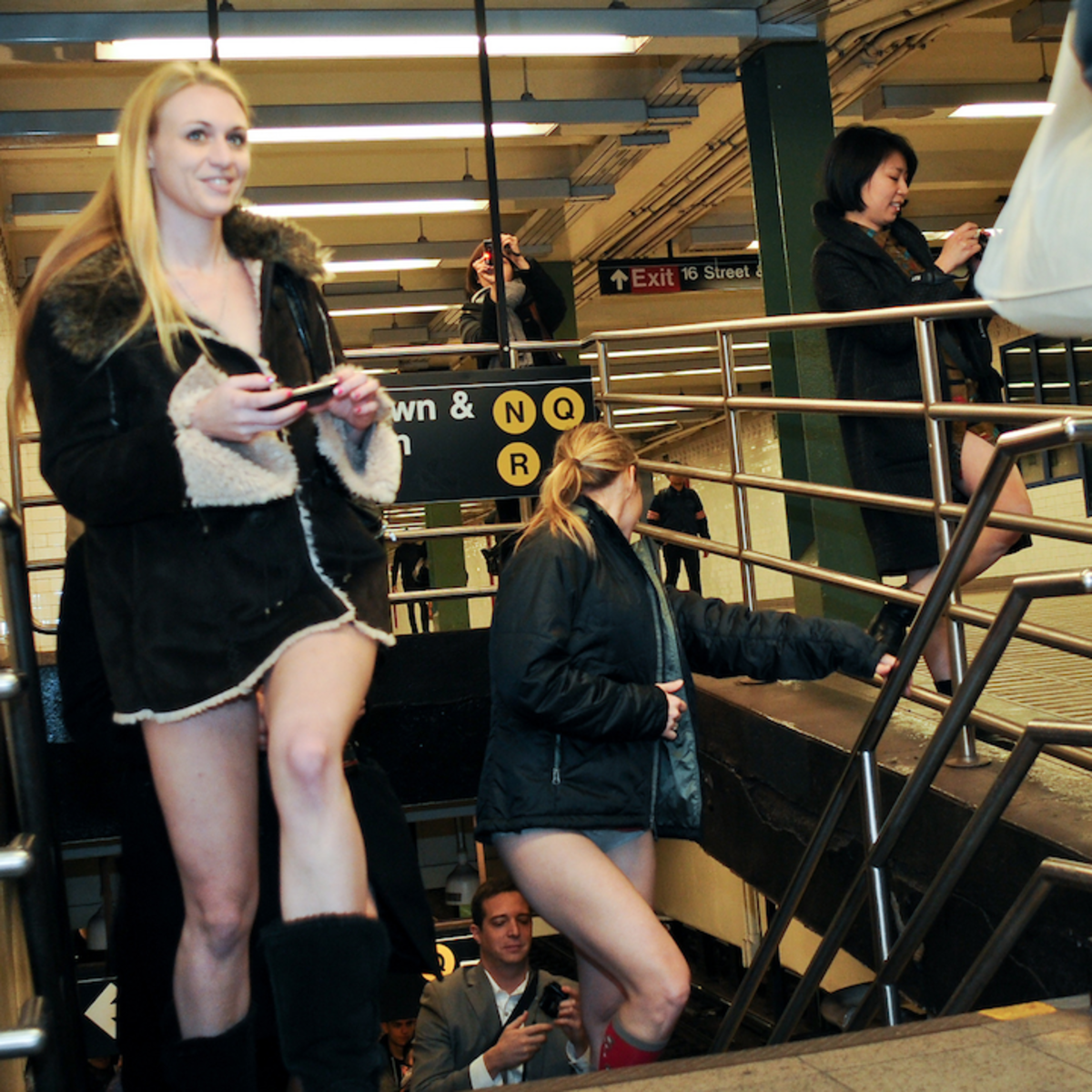 No pants subway ride New York women underwear