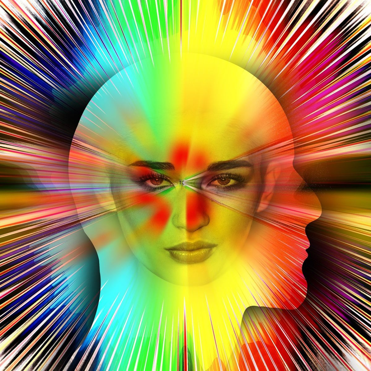 Human psyche: Man, woman, psychedelic brain colors