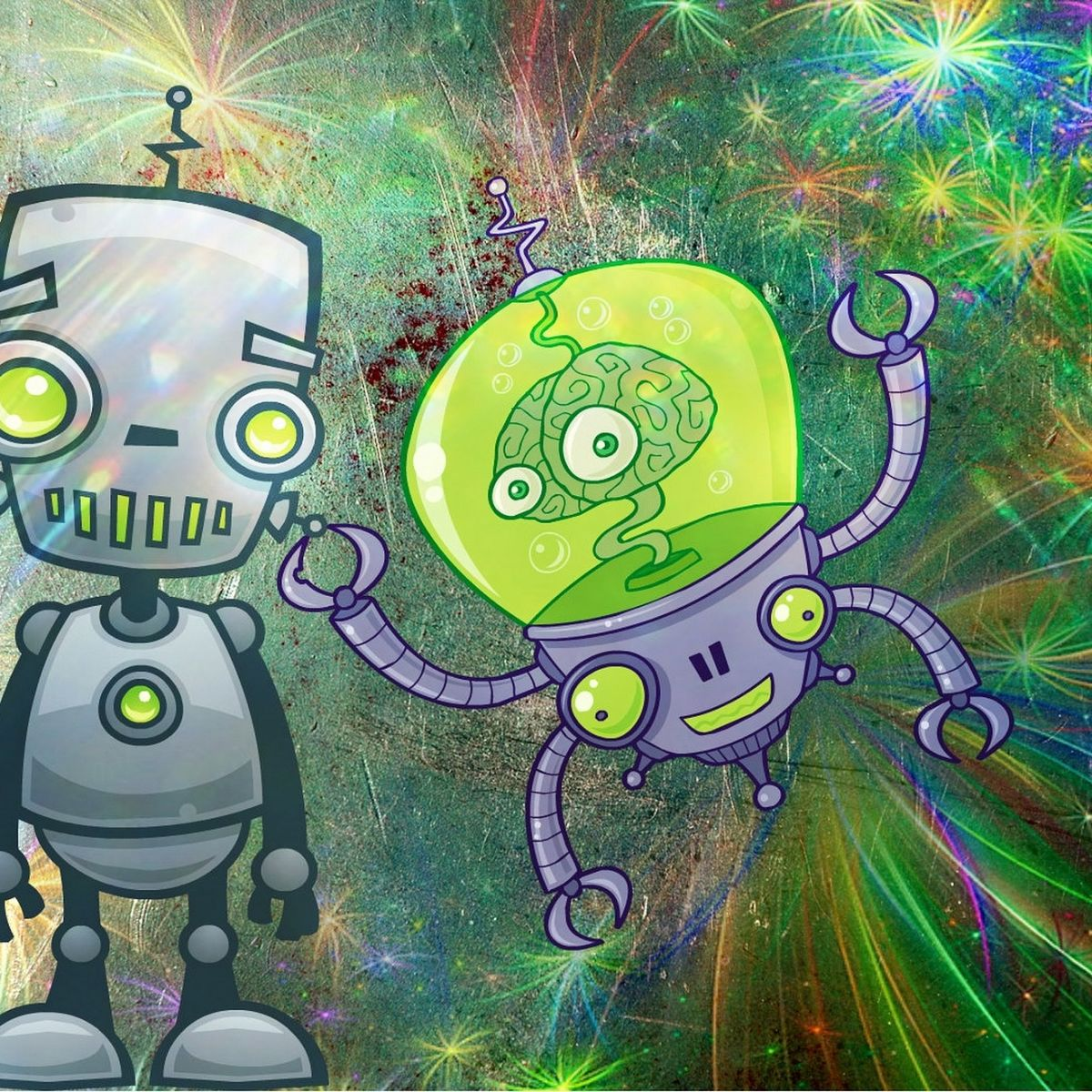 Robots, alien, psychedelic, space, cute