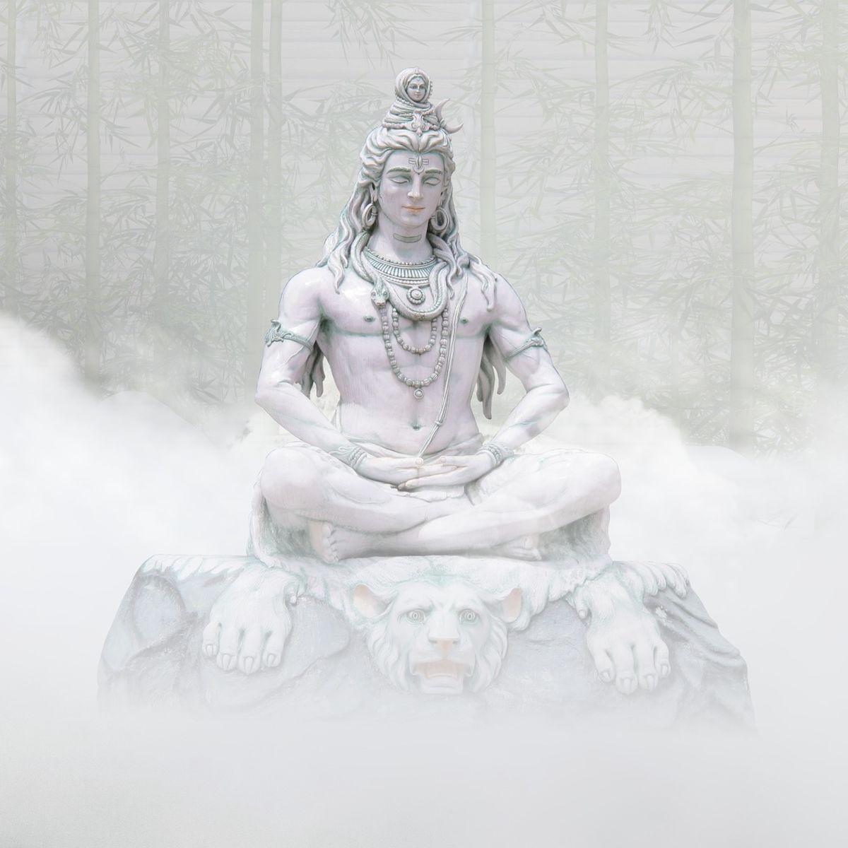 Shiva statue in clouds