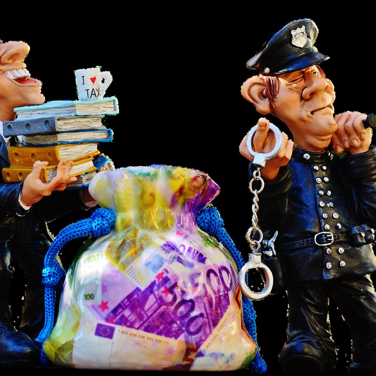 Man, taxes, tax evasion, police man, handcuffs, criminal, extortion, money