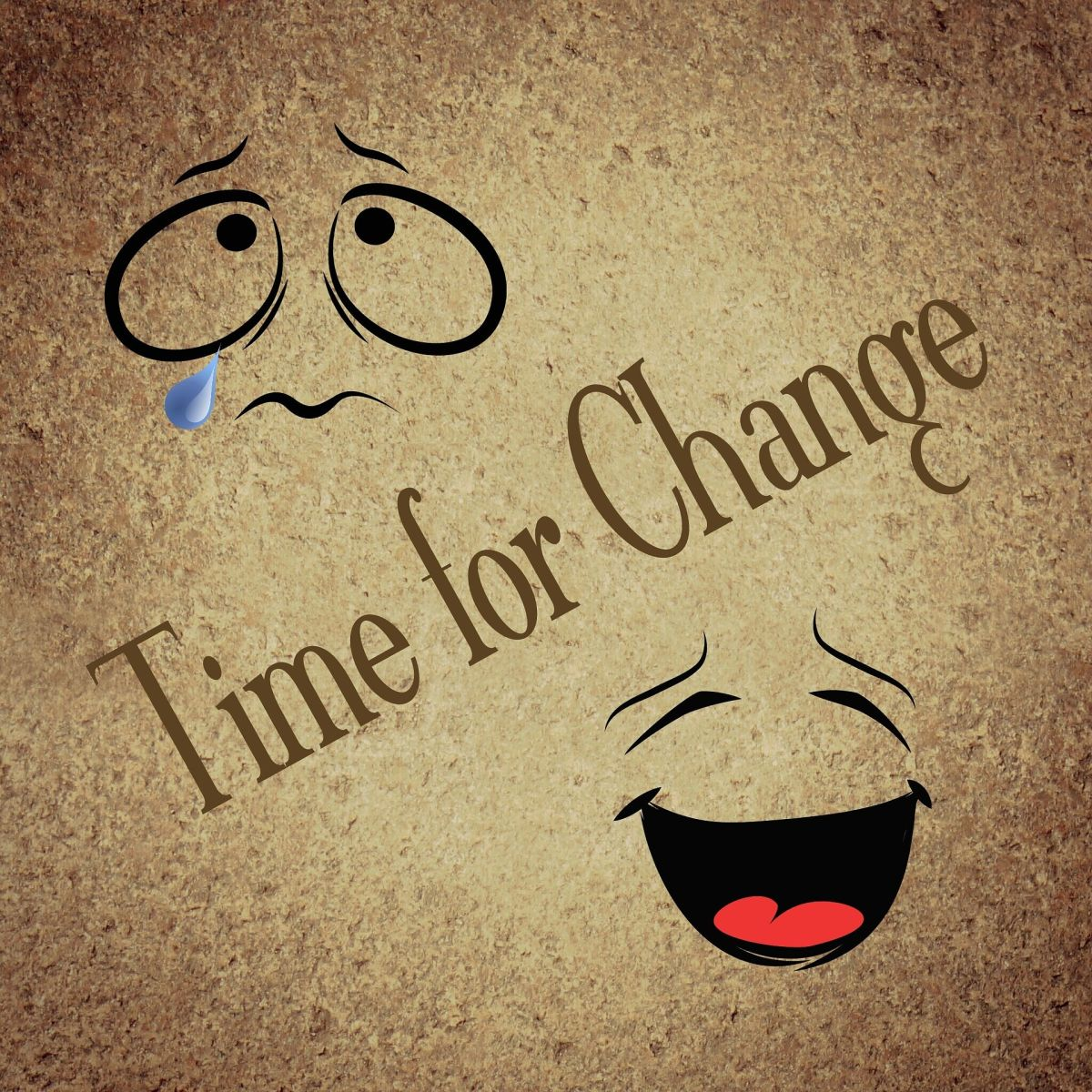Time for change, sad, cheerful, smile, cry, yin, yang