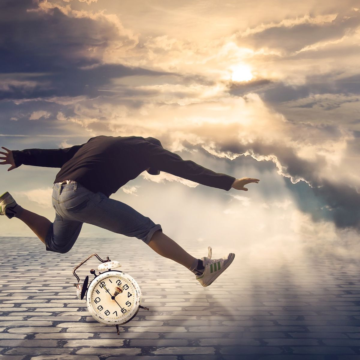 Time: Man running and jumping over clouds, clock