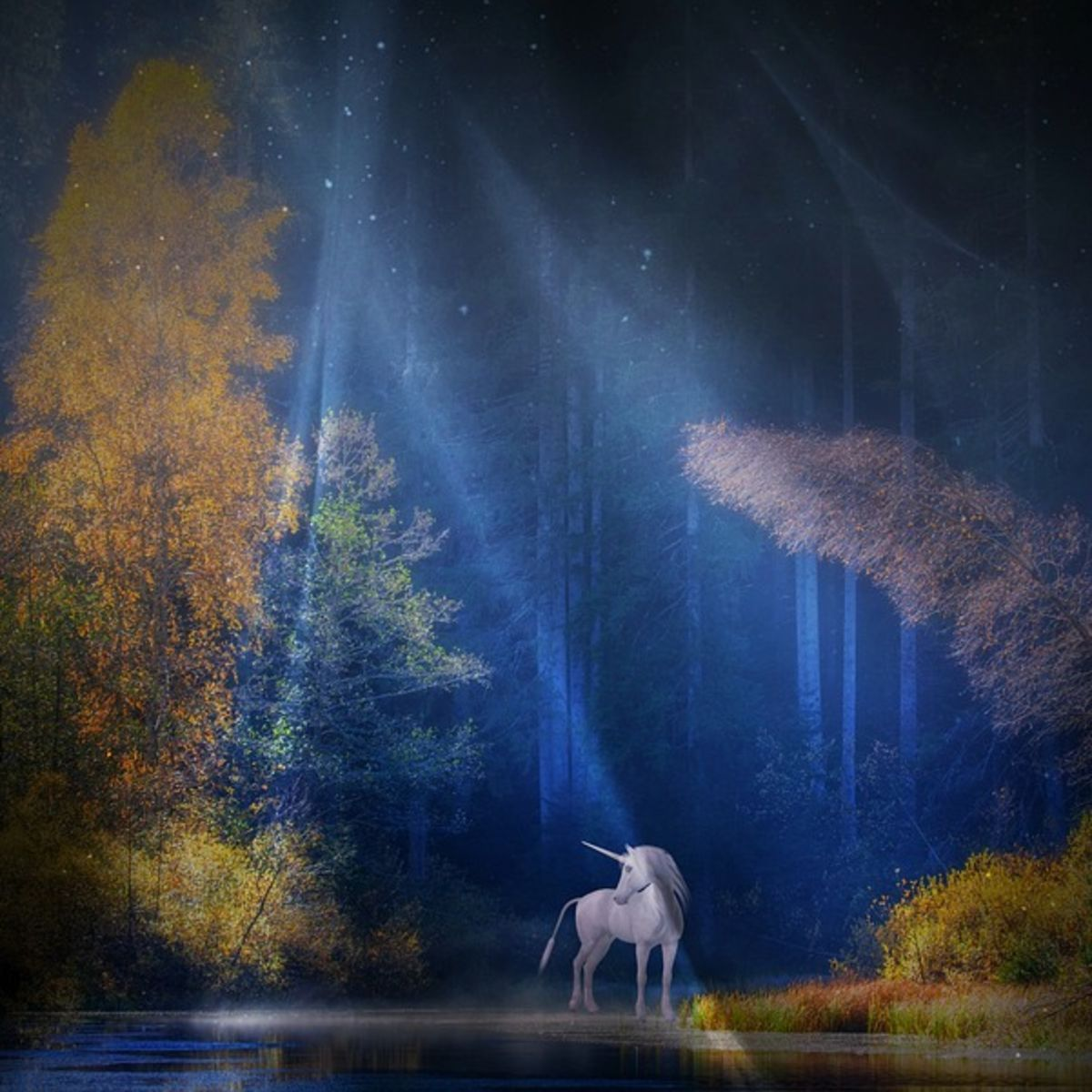 Unicorn in a mystical fairy tale landscape, forest, river
