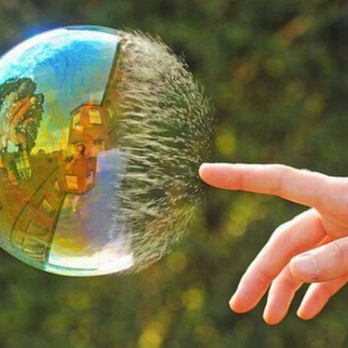 water bubble burst with finger