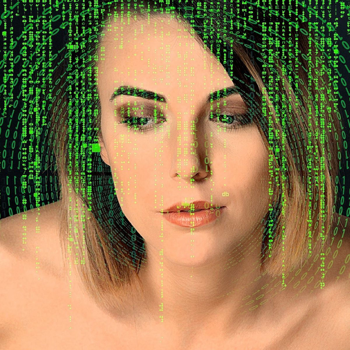Blonde nameless woman in front of green matrix numbers