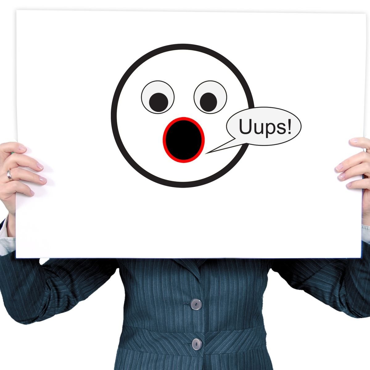 Uups, excuse me, I beg your pardon, woman, holding, paper, smiley