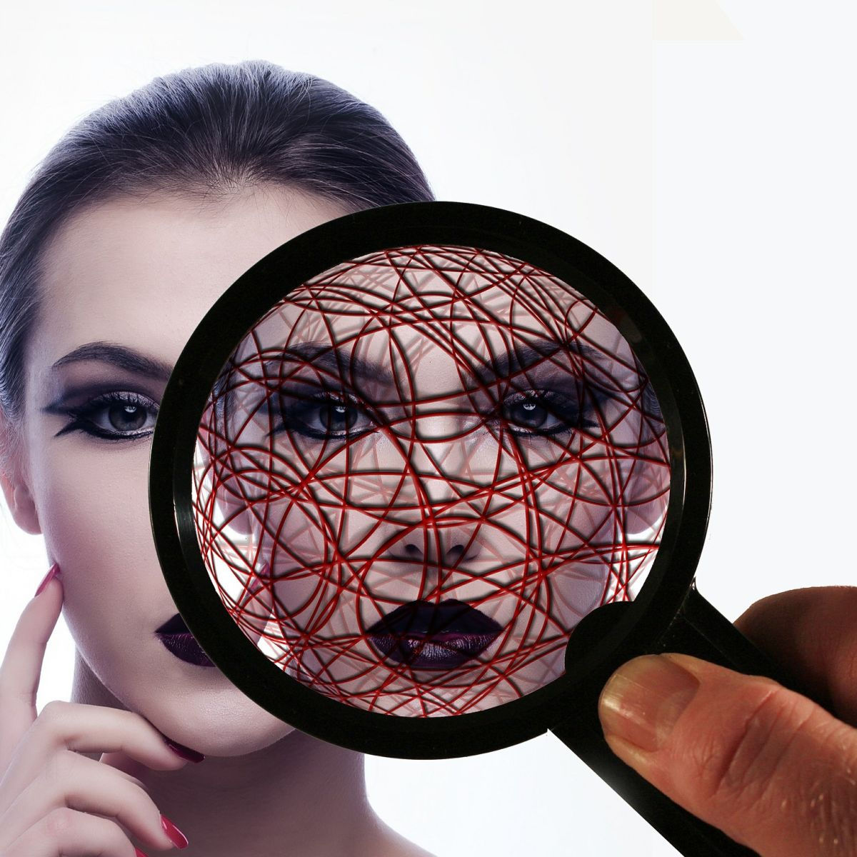 magnifier, loupe, woman, pattern