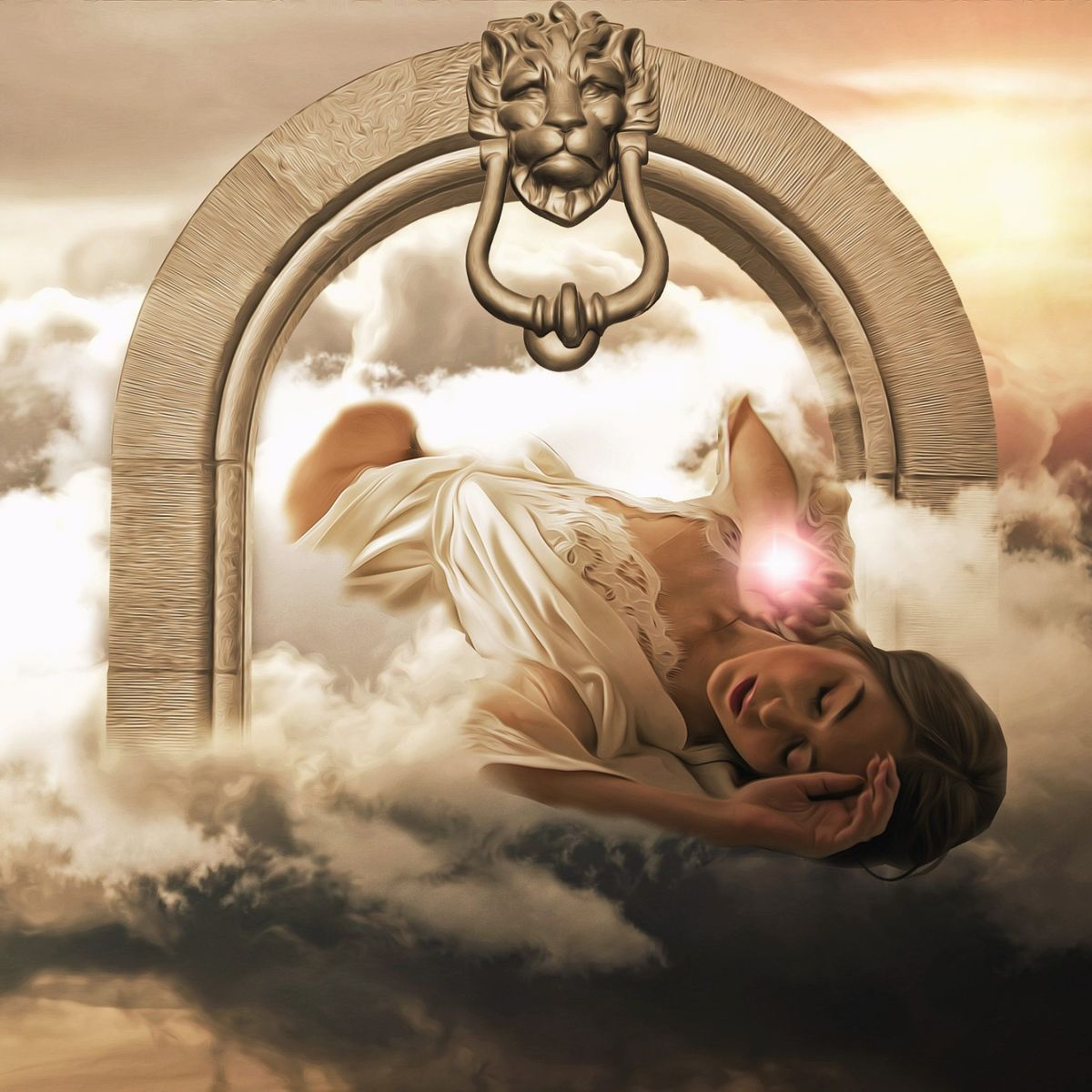 Woman in fantastic dream world, lions head, gate, fantasy, sky, clouds