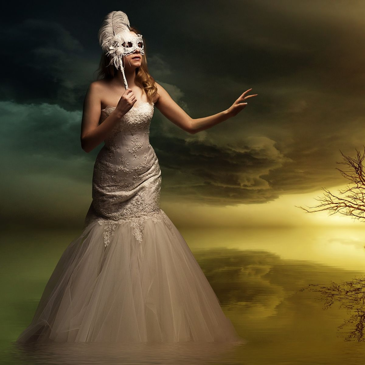 Gothic woman, fantasy, tree, mask