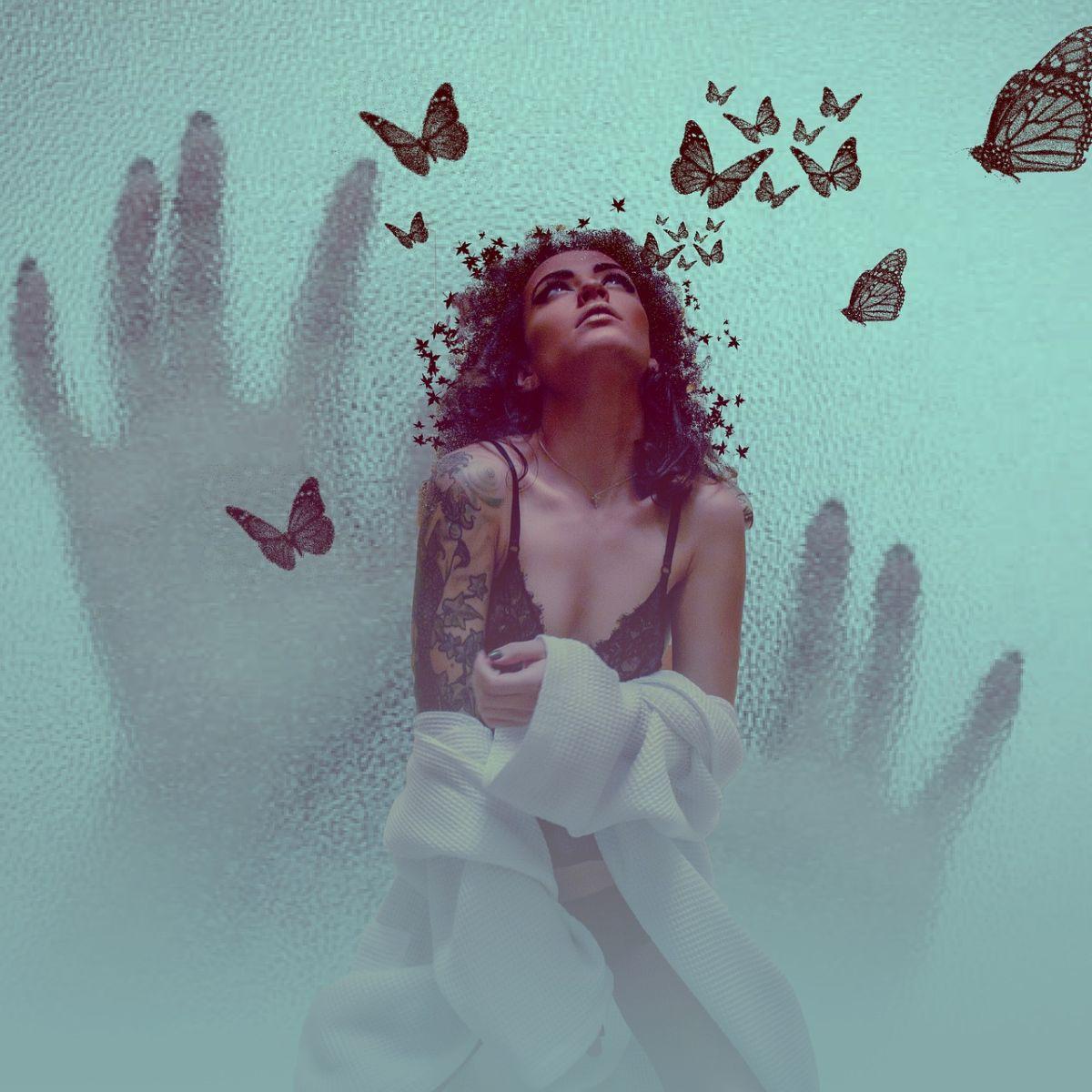 Woman, desire, longing, romance, romantic, butterflies, hands, dreamy